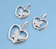 Apple Clear Cubic Zirconia Matching Set Sterling Silver 25MM