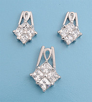 Cluster Paragon Shaped Drop Clear Cubic Zirconia Matching Set Sterling Silver 19MM