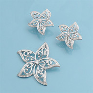 Plumeria Matching Set Sterling Silver 37MM