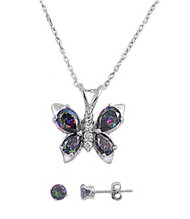 Butterfly Rainbow Simulated Topaz Cubic Zirconia Matching Set Sterling Silver 14MM