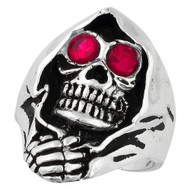 Grim Reaper Death Skull Sterling Silver 925 Simulated Garnet Red Cubic Zirconia Eyes