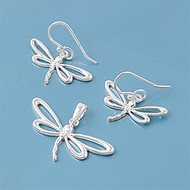 Dragonfly Matching Set Sterling Silver 12MM