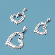 Heart Clear Cubic Zirconia Matching Set Sterling Silver 23MM
