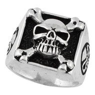 Armed & Dangerous Skull Ring Sterling Silver 925