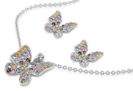 Butterfly Multicolor Cubic Zirconia Matching Set Sterling Silver 18MM