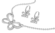 Butterfly Clear Cubic Zirconia Matching Set Sterling Silver 17MM