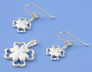 Plumeria Matching Set Sterling Silver 23MM