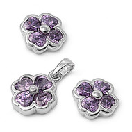 Clover Simulated Amethyst Cubic Zirconia Matching Set Sterling Silver 11MM