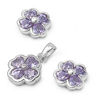 Clover Lavender Cubic Zirconia Matching Set Sterling Silver 12MM
