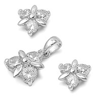 Cluster Flower Clear Cubic Zirconia Matching Set Sterling Silver 11MM