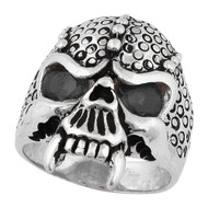Serpentine Demon Skull Sterling Silver 925 Black Cubic Zirconia Eyes