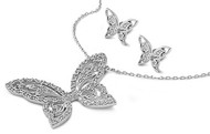 Butterfly Clear Cubic Zirconia Matching Set Sterling Silver 25MM