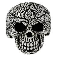 Mandala Floral Skull Ring Sterling Silver 925
