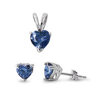 Sterling Silver Heart Blue Simulated Sapphire Cubic Zirconia Matching Set 7MM