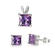 Princes Cut Simulated Amethyst Cubic Zirconia Matching Set Sterling Silver 8MM