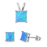 Princes Cut Blue Simulated Opal Matching Set Sterling Silver 8MM