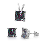 Princes Cut Rainbow Simulated Topaz Cubic Zirconia Matching Set Sterling Silver 8MM
