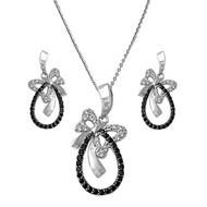 Butterfly Black Cubic Zirconia Matching Set Sterling Silver 31MM
