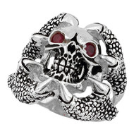 Claw of the Beast Skull Ring Sterling Silver 925 Simulated Garnet Red Cubic Zirconia Eyes