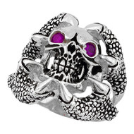 Claw of the Beast Skull Sterling Silver 925 Purple Cubic Zirconia Eyes