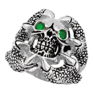 Claw of the Beast Skull Sterling Silver 925 Green Cubic Zirconia Eyes