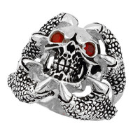 Claw of the Beast Skull Sterling Silver 925 Simulated Ruby Red Cubic Zirconia Eyes