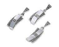 Bent Drop Simulated Mother Of Pearl Matching Set Sterling Silver 27MM