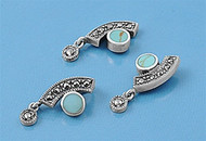 Abstract Round Simulated Turquoise Matching Set Sterling Silver 23MM