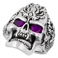 Dragon Rebel Skull Sterling Silver 925 Purple