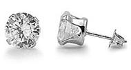 Round Cubic Zirconia Stud Earrings Stainles Steel 6MM