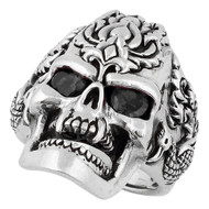 Dragon Rebel Skull Sterling Silver 925 Black