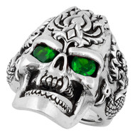 Dragon Rebel Skull Sterling Silver 925 Green