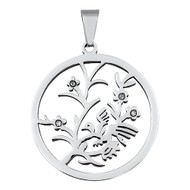 Tree & Bird Pendant Stainles Steel 38MM