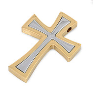 Two Toned Cross Pendant Stainles Steel 38MM