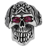 Wings of the Grim Reaper Skull Ring Sterling Silver 925 Simulated Garnet Red Cubic Zirconia Eyes