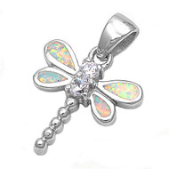 Dragonfly Simulated Opal Pendant Sterling Silver  21MM