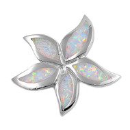 Starfish Simulated Opal Pendant Sterling Silver  29MM