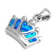 Crown Simulated Opal Pendant Sterling Silver  11MM