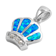 Crown Simulated Opal Pendant Sterling Silver  13MM