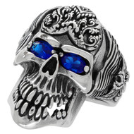 Wings of the Grim Reaper Skull Ring Sterling Silver 925 Simulated Sapphire Blue Cubic Zirconia Eyes