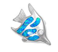 Fish Simulated Opal Pendant Sterling Silver  18MM
