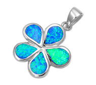 Flower Simulated Opal Pendant Sterling Silver  20MM