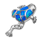 Frog Simulated Opal Pendant Sterling Silver  31MM