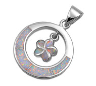 Flower Simulated Opal Pendant Sterling Silver  25MM