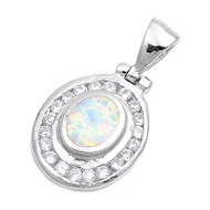 Round Halo Simulated Opal Pendant Sterling Silver  22MM