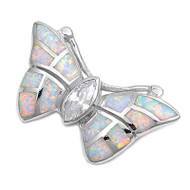 Butterfly Simulated Opal Pendant Sterling Silver  21MM