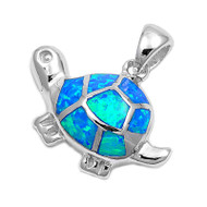 Tortoise Simulated Opal Pendant Sterling Silver  18MM