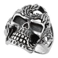 Serpentine Horseman Skull Ring Sterling Silver 925