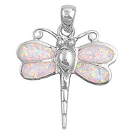 Dragonfly Simulated Opal Pendant Sterling Silver  28MM
