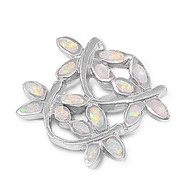 Dragonfly Simulated Opal Pendant Sterling Silver  18MM
